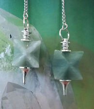2 GREEN AVENTURINE CRYSTAL MERKABA STAR SILVER DOWSING PENDULUM, WITH 2 POUCHES