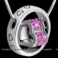 Heart & Ring Crystal Necklace Women Gifts for Her Mum Wife Girls Ladies Xmas F6
