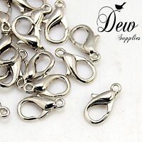 100 x Lobster claw clasps Platinum 14mm 8mm clip hook
