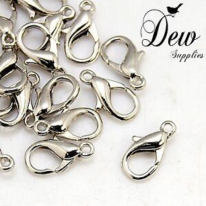 50 x Lobster claw clasps Platinum 14mm 8mm clip hook