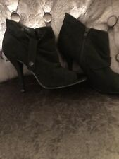 Black Suede Open Toe Booties, 8 1/2