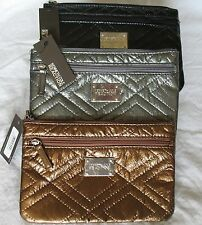 Kenneth Cole Reaction Clutch Purse New Quilted Flat Pouch Metallic NWT