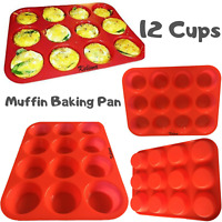 12 Cup Muffin Pan with Red Silicone Handles by HSK