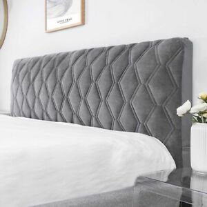Quilted Bed Headboard Cover Soft Smooth Thicken Velvet Head Dust Protector Cover