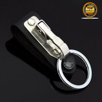 Stainless Steel Leather Detachable Keychain Belt Clip Key Ring Holder Gift
