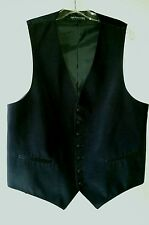 Vtg Sharp Black SAKS FIFTH AVENUE Exclusive Vest Size L Polyester Made in USA