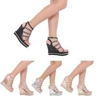 NEW WOMENS LADIES PEEP TOE FASHION WEDGE SANDALS ANKLE STRAP PLATFORM SHOES 3-8