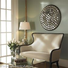 """Large 35"""" MIRRORED WALL ART Mosaic Tiled Contemporary Round Designer Metal"""