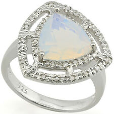 LOVELY 3.07 CTW GENUINE DIAMOND & CREATED FIRE OPAL IN 925 STERLING SILVER RING