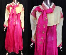 Antique Korean Yellow Pink Silk Damask Gold Stencil Dragon Hanbok Formal Dress