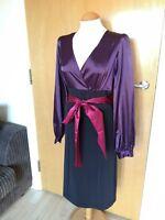 Ladies KALEIDOSCOPE Dress Size Black Plum Wiggle Pencil Satin Party Evening