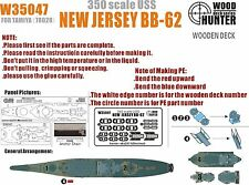 Hunter 1/350 W35047 Wood deck New Jersey BB-62 for Tamiya 78028