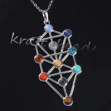 1x Natural Gemstone kabbalah Tree Of Life Hearing Point Chakra Pendant Necklace