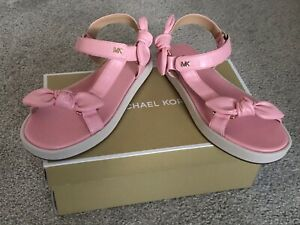 Michael Kors Phoebe pink hook & loop sandals with bow accent sizes 8. 5M, 9M NIB