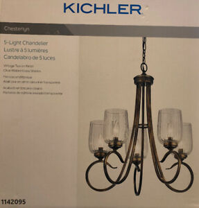 Kichler Chesterlyn 5-Light Vintage Tuscan Traditional Ribbed Glass Shaded Chande
