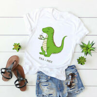 Women's TEA-REX Dino Dinosaur Cotton Funny Top Blouse Tee Short Sleeve T-Shirt