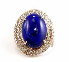 Oval Blue Lapis Lazuli & Diamond Spiral Halo Ring 14k Rose Gold 9.12Ct