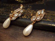 Vintage Marquise Navette Crystal and Pearl Drop  Pierced Earrings
