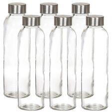 Glass Water Bottles by ESTILO | 6 PACK Bottle Set 16oz  Stainless Steel Caps NEW