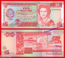 BELICE BELIZE 5 Dollars Dolares 1991 Pick 53b  SC / UNC