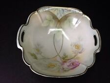 BEAUTIFUL ANTIQUE PRUSSIAN CHINA BOWL WITH HANDLES