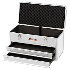 Werkzeugkoffer Werkzeugkiste abschließbar Aluminium-Rahmen 2 Schubladen Silber