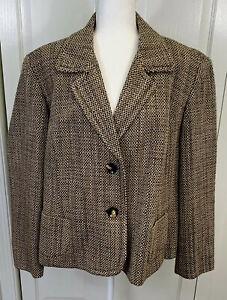 Talbots Blazer Jacket Size 24 Petites Tweed Fully Lined EUC Vintage Made USA