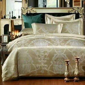 Luxury Sateen Cotton Gold Duvet Cover Bed Sheet Queen King Size 4pcs Bedding Set
