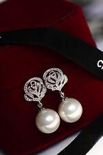Boucles d'Oreilles Clous Argenté Cristal Fleur Rose Perle Fin Retro Filigrane C2