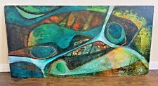 """Mid Century Original Abstract Acrylic Painting 48"""" by 24"""" Signed Iwler? Green"""