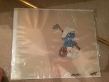 The Smurfs  Original Animation Cartoon Cel 1981 Hanna Barbera PEYO
