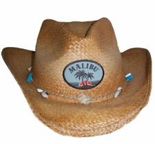 Malibu Rum Patch Straw Cowboy Hat With Sea Shell and Bead Accent