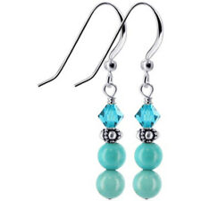 925 Silver Turquoise Bali Bead Swarovski Elements Blue Crystal Drop Earrings
