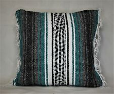 mexican serape teal green taupe grey black stripe decorative throw pillow