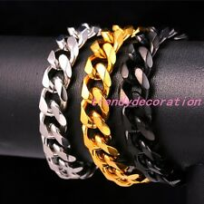 5/8/10/12/15/17/19MM Mens Stainless Steel Silver Gold Black Cuban Chain Bracelet
