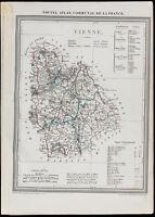 1839 - Carte géographique ancienne de la Vienne. Département France. Gravure
