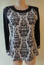 Eversun Top & Black White Stretch Knit Size 16 Long Sleeves