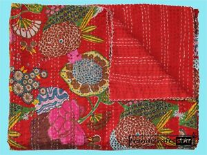 Cotton Bedcover King Coverlet Fruit Throw Bohemian Kantha Quilt Red Color Gudari