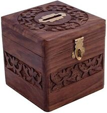 Indian Cultura Wooden Square Piggy Bank for Money and Coins for Kids - Brown
