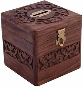 Indien Cultura Wooden Square Piggy Bank for Money and Coins for Kids - Brown
