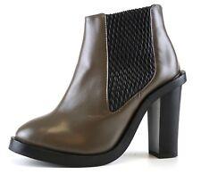 Topshop High Heel Leather Booties Brown Women Sz 37 EUR 4991