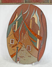 "Stunning 1970's Abstract Wall Plaque 19"" Tall Denise Cantin Quebec Artist"