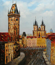 Original Prague Oil painting Wall art Deco On Canvas knife Hand Painted prg007