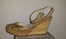 JIL SANDER Ankle Strap Snake Leather Wedge Sandals, Size 41, made in Italy