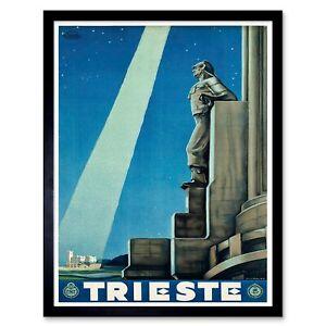Travel Trieste Italy Lighthouse Beam Statue Stars Sky 12X16 Inch Framed Print