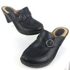 Born Women Black Mules Clog 10 Pebbled Leather Heel Slip On Wedge Buckle W31002