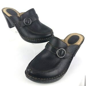 Born Women Black Heel Mules Clog 10 Pebbled Leather Slip On Wedge Buckle W31002