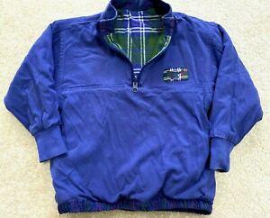 Gymboree Boys Reversible 1/4 Zip Pullover Jacket Blue Plaid Sz LARGE Vintage
