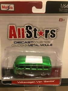 1/64 MAISTO ALLSTARS VOLKSWAGEN VAN SAMBA BUS GREEN AND GREY