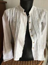 corsage 1900 corseté /coton blanc /broderie /guipure /déco /restauration